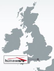 Contact - A map of the UK showing the location of Humaware's office